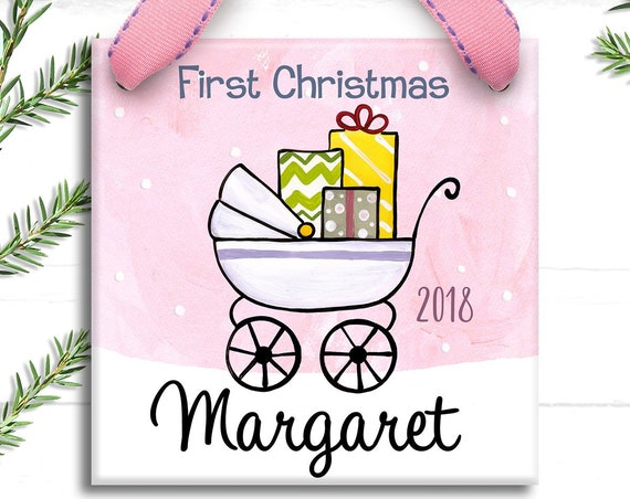 Baby Ornament  -  Babies First Christmas Ornament - Chevron Baby - Hand Painted - Baby's 1st Christmas - Baby First Christmas Ornament