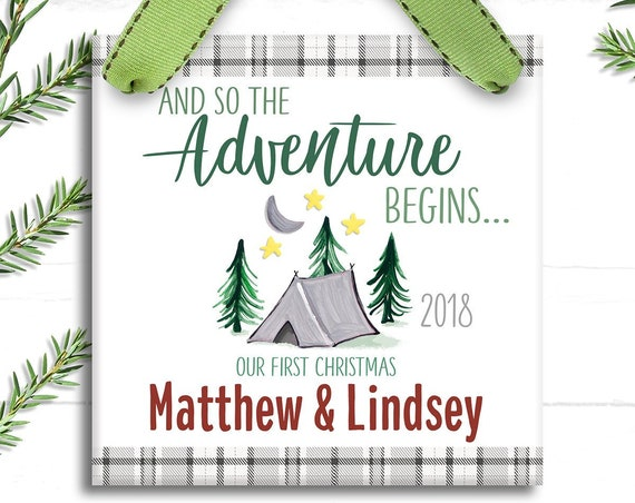 Our First Christmas Together Ornament - Personalized Couple Christmas Ornament - And So The Adventure Begins Engaged - Rustic Camping