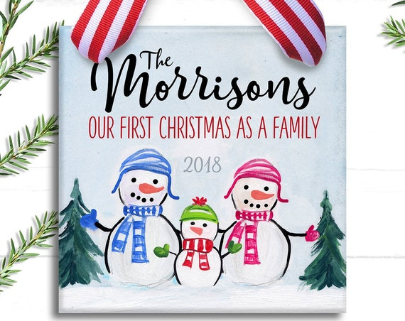 First Christmas as a Family Ornament -  New Parent Gift Personalized - Mommy & Daddy Christmas Ornament - Personalized Family Ornament