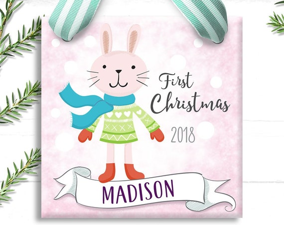 Baby's First Christmas Ornament - First Christmas Ornament - Baby 1st Christmas Ornament - First Christmas Baby - Pink Bunny