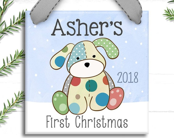 Baby's First Christmas Ornament, Personalized Baby's 1st Christmas Ornament, Puppy, Boy, Vintage