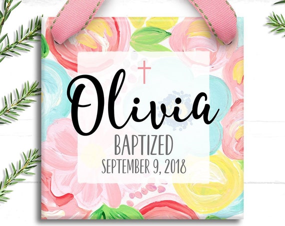 Baptism Gift for Baby Girl -  Personalized Gift - Baptism Ornament - Gift for Goddaughter First Christmas - Lily Pulitzer Watercolor Floral