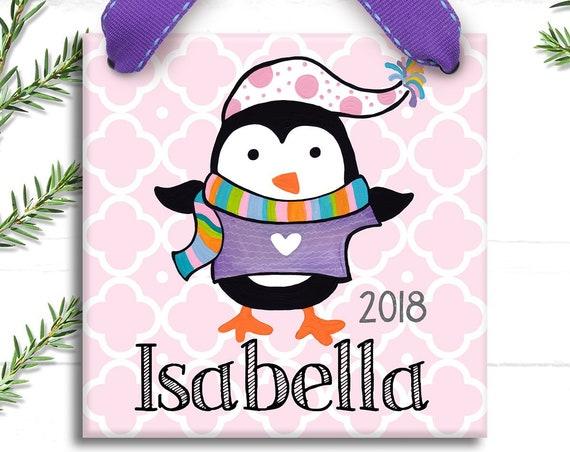 Personalized Ornament - Girl Ornament - Hand Painted Ornament - Christmas Ornament - Personalized Christmas - Penguin Ornament - Preppy