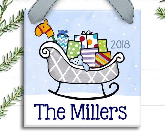 Santa's Sleigh - Personalized Christmas Ornament - Family Ornaments- Personalized Family Ornament - Unique Hostess Gift - Hostess Gift