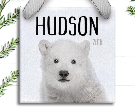 Personalized Polar Bear Christmas Ornament - Baby Animal Prints for Boys - Personalized Gifts for Boys - Unique Christmas Tree Decorations