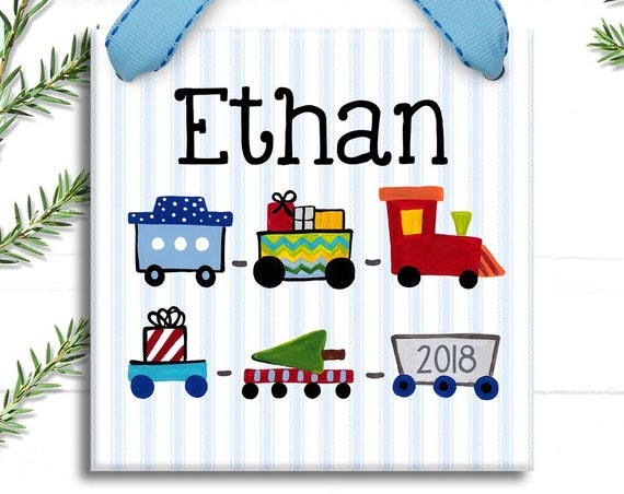 Personalized Kids Ornament - Train Christmas Ornament -   Kids Holiday - Coo Coo Train