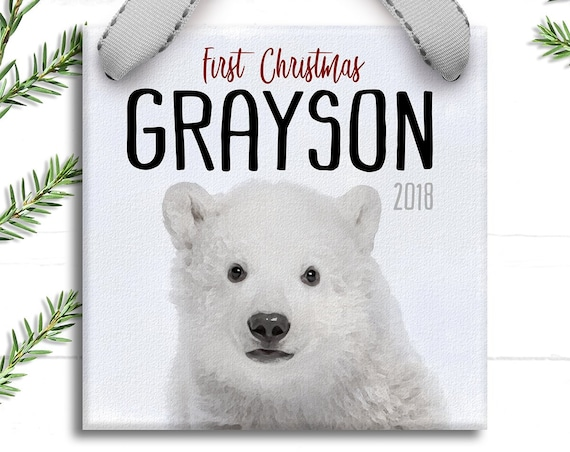 My First Christmas Ornament for Baby Boy -  Baby Polar Bear Ornament - Gift for Newborn - Holiday Tree Ornament - Personalized Gift for Boy