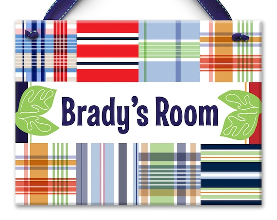 Kids Wall Art - Surf Madras - Preppy Boys Room - Name Sign - Personalized Boy - Kids Room Art - Ceramic Tile