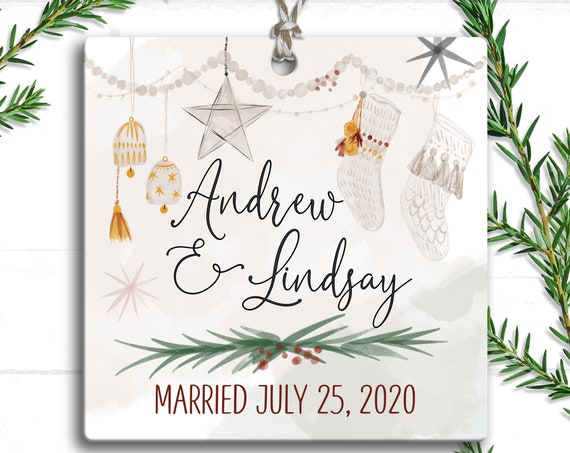 Married Holiday Ornament, First Christmas Married Ornament 2020, Our First Christmas Ornament  Married, Wedding Gift for Couple, Rustic BoHo