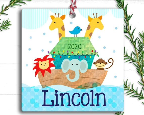 Noah's Ark Baby - Personalized Ornament Noahs Ark- Babys First Christmas - Baptism Gift - Unique Baby Gift - Personalized Christmas Ornament