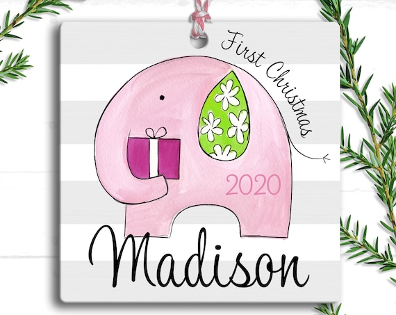 My First Christmas Ornament Pink Elephant, Personalized Holiday Ornament 2020, First Christmas Baby Girl Ornament, My 1st Christmas Ornament