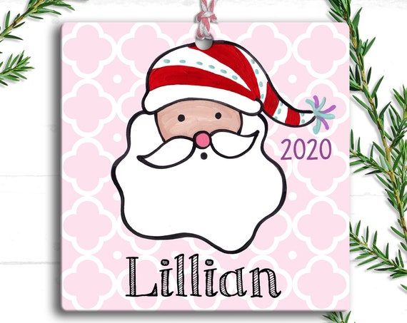 Pink Santa Claus Ornament - Personalized Christmas Tree Ornament - Preppy Christmas - Stocking Stuffer - Personalized Christmas Ornaments -