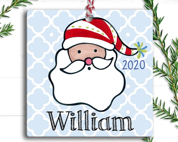 Santa Claus Ornament - Christmas Personalized Santa Ornament - Personalized Christmas Tree Ornament - Preppy - Stocking Stuffer for kids
