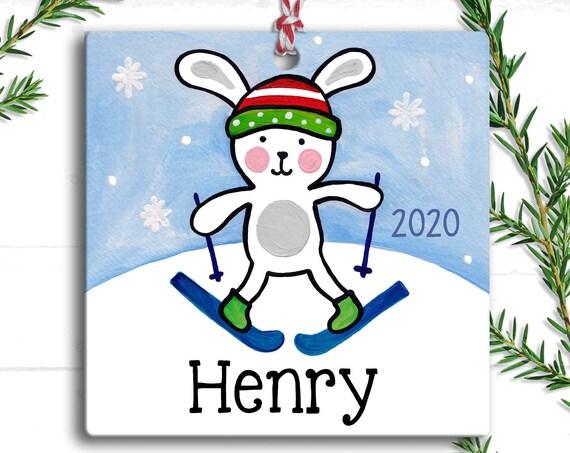 Snow Bunny - Christmas Ornament - Kids Christmas Ornament - Boy - Bunny Ornament - Personalized Kids - Personalized Ornament
