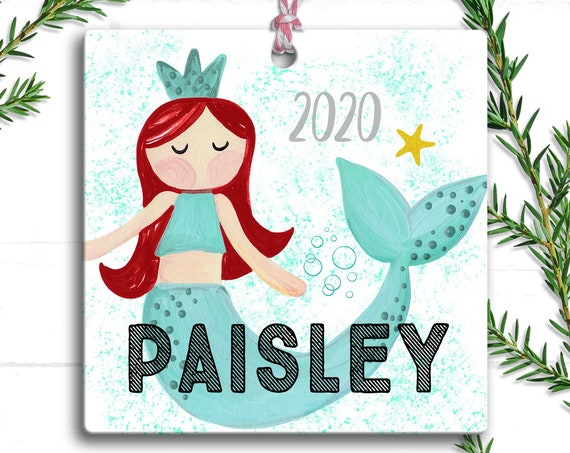 Personalized Mermaid Christmas Ornament for Girls - Personalized Christmas Ornament - Mermaid Lover Gift -  Mermaid Christmas Tree Ornament