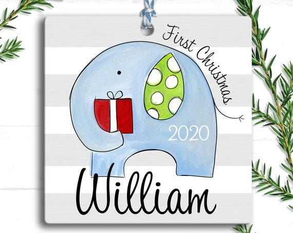 Baby Ornaments - Elephant Personalized Baby's First Christmas Ornament - 1st Christmas Ornament - Baby Boy Christmas - Baby's 1st Christmas