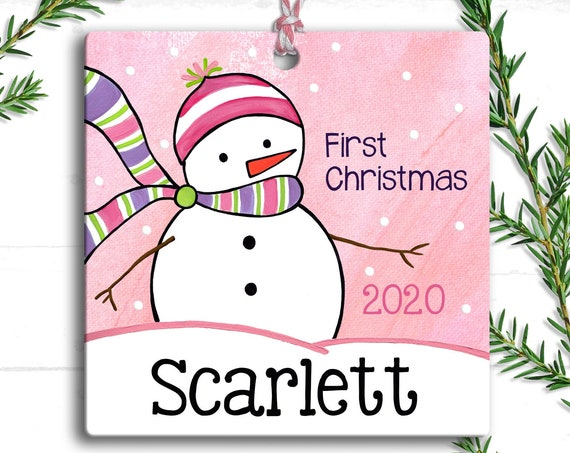 Baby's First Christmas Ornament - Personalized Baby Snowman Ornament - Baby Girl Ornament - New Baby Xmas Gift - Custom Baby Ornament