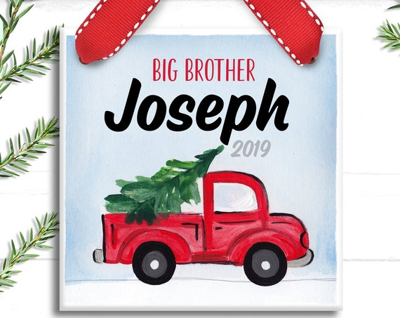 Red Pickup Truck Big Brother Ornament - Personalized Christmas Ornament - Big Brother - Little Brother - Farmhouse Christmas Ornament