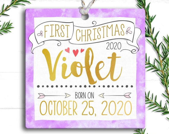 Lavender and Gold , Baby Girl First Christmas Ornament - Personalized Baby's First Christmas Ornament, Baby 1st Christmas - Baby Girl