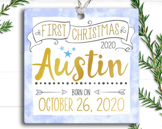 Personalized Baby's First Christmas Ornament, Baby Ornament, Trim the Tree, Personalized Christmas Ornament, Birth Date, Baby Shower Gift