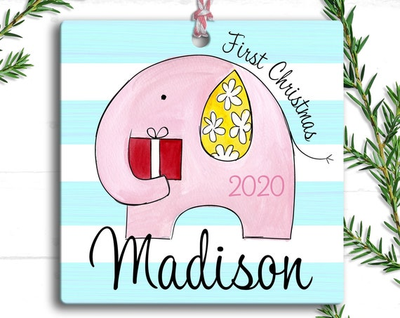 Baby's First Christmas Ornament - Personalized Pink Elephant - First Christmas Baby Girl Ornament - Custom Baby Name Christmas Ornament