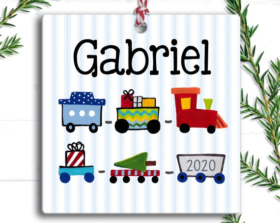 Personalized Kids Ornament, Train Christmas Ornament, Kids Holiday Ornament, Choo Choo Train, Personalized Ornaments, Christmas Gift for Boy