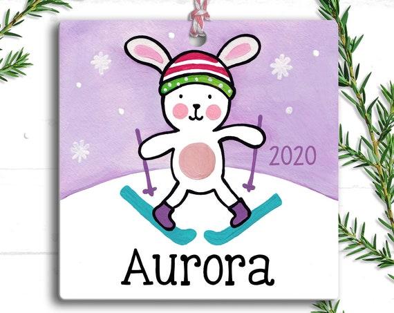 Snow Bunny - Christmas Ornament - Kids Christmas Ornament - Girl - Bunny Ornament - Personalized Kids - Personalized Ornament