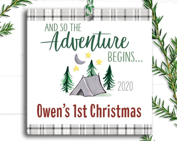 First Christmas Camping Adventure Ornament Baby Boy -  Personalized Baby Gift - And So The Adventure Begins Baby - Rustic Camping Christmas