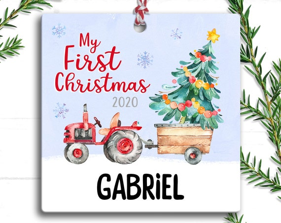 Tractor Baby's First Christmas Ornament, Personalized 1st Christmas, Farmhouse Christmas, Gift for Baby Boy, My First 1st Christmas Ornament