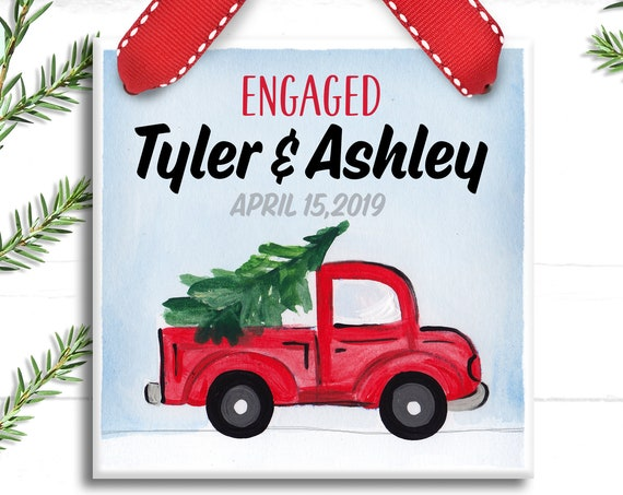 Personalized Engagement Ornament - Personalized Engagement Christmas Ornament - Gifts for Newly Engaged Couple - Red Pickup Truck Ornament