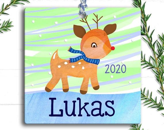 Reindeer Ornament - Rudolf the Red Nosed Reindeer - Christmas Reindeer - Personalized Kids Ornament - Reindeer Christmas Ornament - Baby Boy