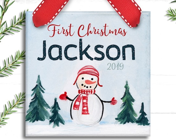 Snowman First Christmas Ornament - Baby Boy Christmas Ornament - Boy Baby's First Christmas - Personalized Baby's 1st Christmas Ornament