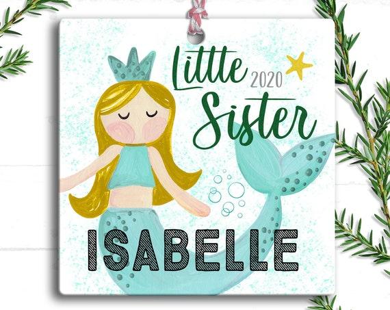 Little Sister Gift Christmas Ornament - Personalized Little Mermaid - First Christmas as Little Sister -  New Sibling Gift - Gift for Girl