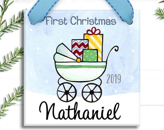 Baby Boy Ornament - Baby's 1st Christmas - Baby's First Christmas Ornament - Posh Baby Stroller - Shabby Chic Baby - Baby Boy Gift