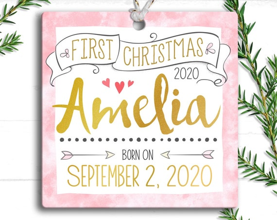 Pink Blush and Gold , Baby Girl First Christmas Ornament - Personalized Baby's First Christmas Ornament, Baby 1st Christmas - Baby Girl