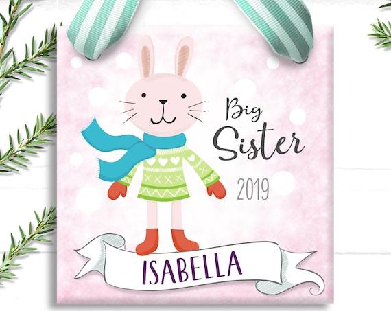 Big Sister Christmas Ornament - Snow Bunny - Big Sister Gift - Christmas Ornament - Pink Bunny
