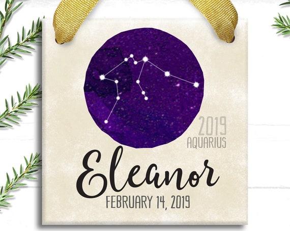 Zodiac Constellation Star Sign Christmas Ornament - Personalized Zodiac Gift - Custom Star Map Astrology - Horoscope Christmas Gift for Girl