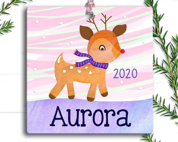 Reindeer Ornament - Rudolf the Red Nosed Reindeer - Christmas Reindeer - Personalized Kids Ornament - Reindeer Christmas Ornament  Baby Girl