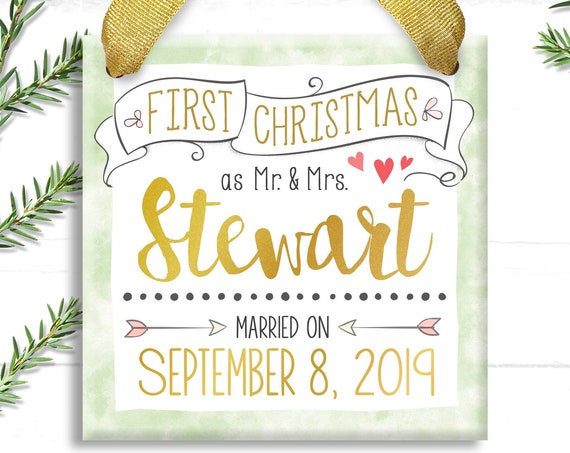 Our First Christmas as Mr and Mrs  - Our First Christmas Ornament Married -  Wedding Gift - Personalized Wedding Ornament - Just Married