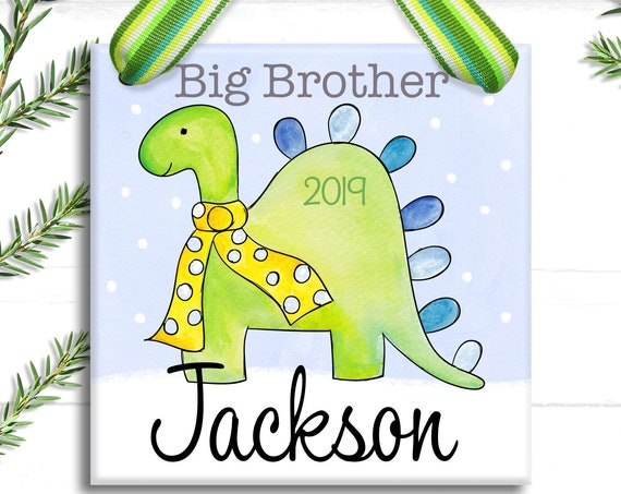 Big Brother Christmas Ornament - Dinosaur Ornament- Promoted To Big Brother - Personalized Christmas Ornament Brother Gift
