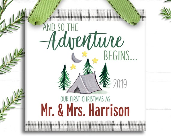 Our First Christmas as Mr and Mrs Ornament - Adventure Awaits Couple - Personalized First Christmas Married Ornament - Just Married Camping
