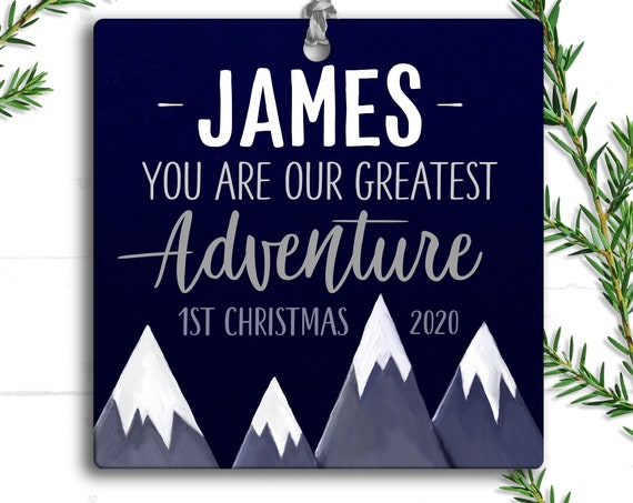 Adventure Personalized First Christmas Ornament - Baby Boy 1st Christmas - Adventure Awaits - Gift for Baby Boy - First Christmas Ornament