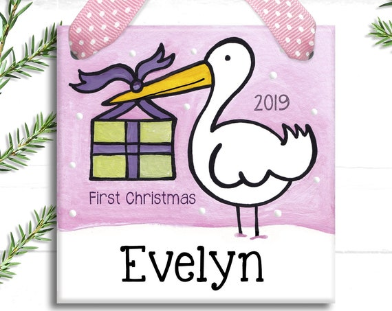 New Baby Ornament - Baby's First Christmas Ornament - Stork Baby Ornament -  Baby Girl Christmas - First Christmas Ornament Baby