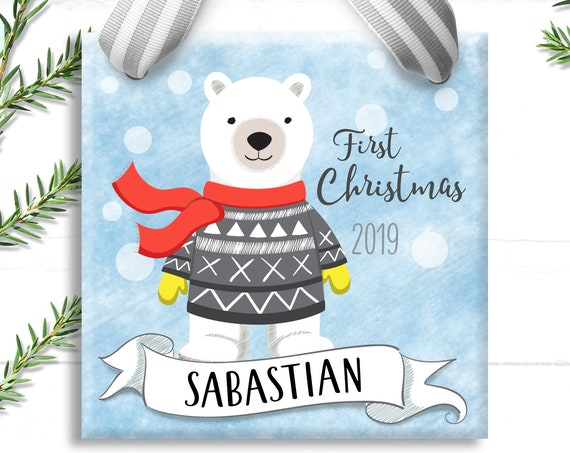 Baby's First Christmas Gift - Baby Blue Polar Bear - Personalized Christmas Ornament - Big Brother Ornament - Baby's 1st Christmas