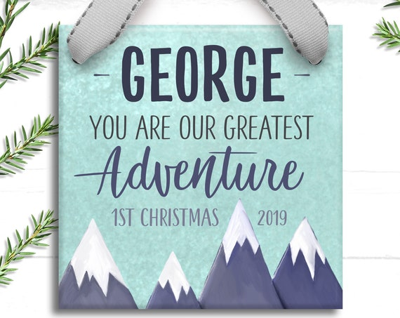 New Baby Gift Personalized Boy Christmas Ornament - Babys First Christmas - Adventure Awaits - Gift for Baby Boy - First Christmas Ornament
