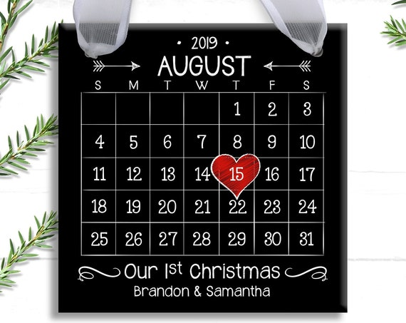 Our First Christmas Ornament - Personalized Wedding Ornament - First Christmas Ornament Married - Chalkboard - Newlywed Ornament -