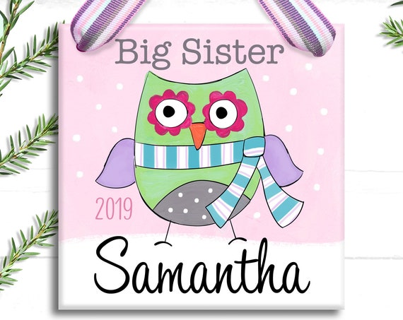Personalized Big Sister Ornament - Pink Owl Ornament - Monogrammed Gifts - Personalized Christmas Ornament - Big Sister Little Sister