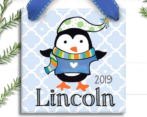 Personalized Ornament - Boy Ornament - Hand Painted Ornament - Christmas Ornament - Personalized Christmas - Penguin Ornament - Preppy