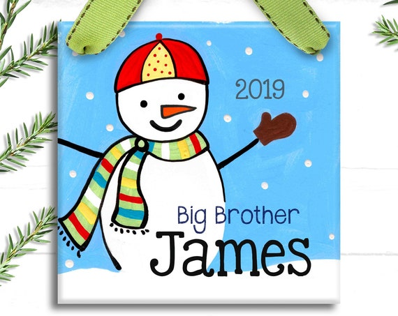 Big Brother Ornament - Big Brother Gift - Personalized Christmas Ornament - New Baby Ornament - Kids Christmas Ornaments - Snowman Ornament