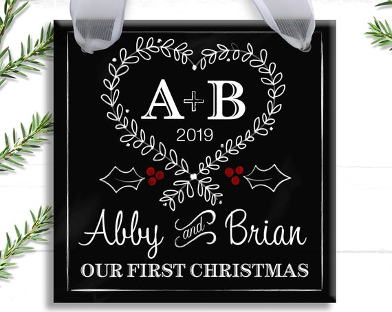 Our First Christmas Ornament - Personalized Wedding Ornament - Chalkboard
